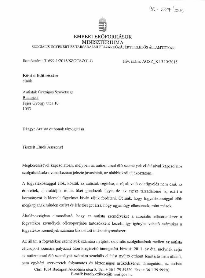 EMMI válaszlevél 1 oldal
